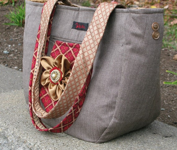 Large tote bag made from recycled men's suit coat and silk neckties - made to order