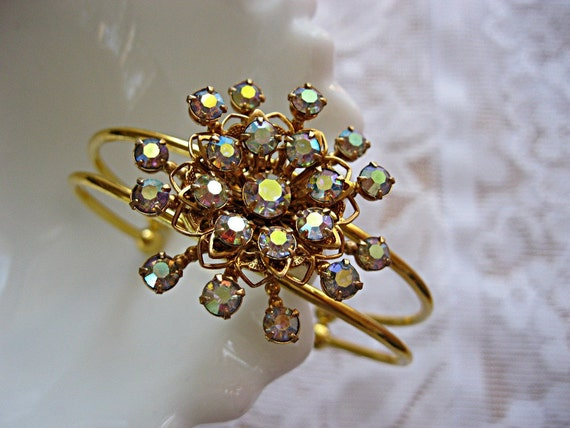 RESERVED for Jennifer - Rhinestone cuff bracelet Aurora borealis cuff bracelet Vintage earring bracelet Bride Bridesmaid Mother of the Bride