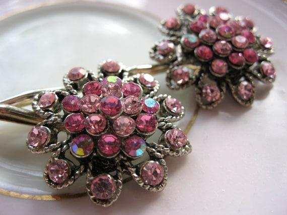 Pink rhinestone hair pins, vintage wedding hair accessory, bridal hair pins, vintage earring bobby pins, bride, prom