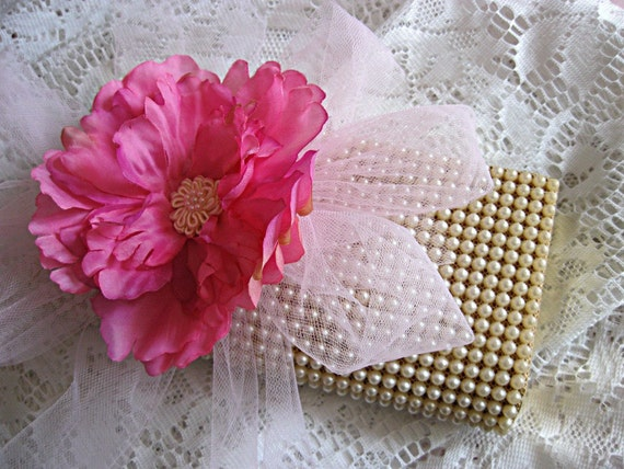 Cream beaded vintage clutch, hard sided pearl formal purse, hot pink flower and pale pink tulle, wedding, bride, prom, special occasion