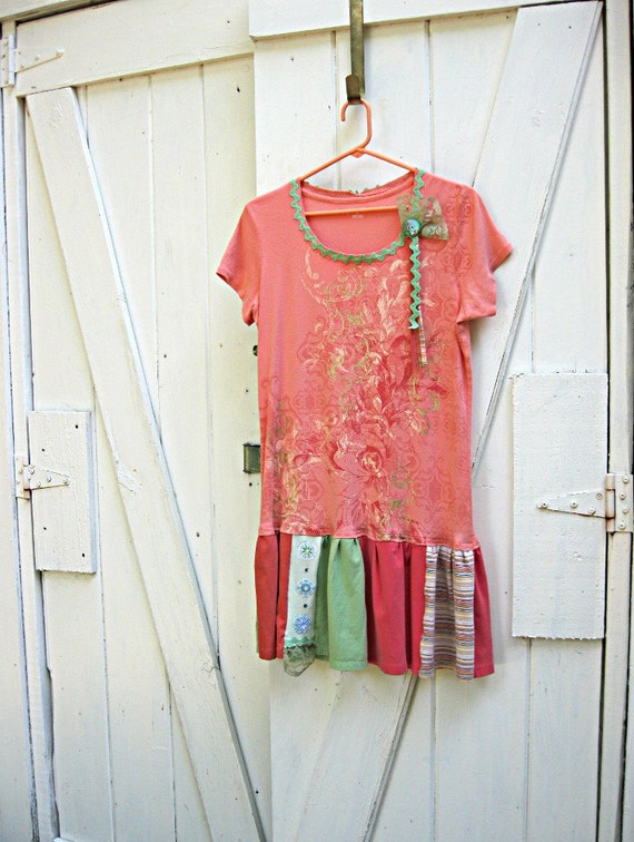 Orange and green t shirt dress, upcycled dress, recycled t shirt dress, Summer in the Country, Ladies Large