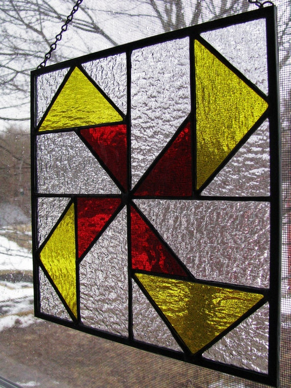 Seesaw quilt pattern stained glass panel for Window pane quilt design