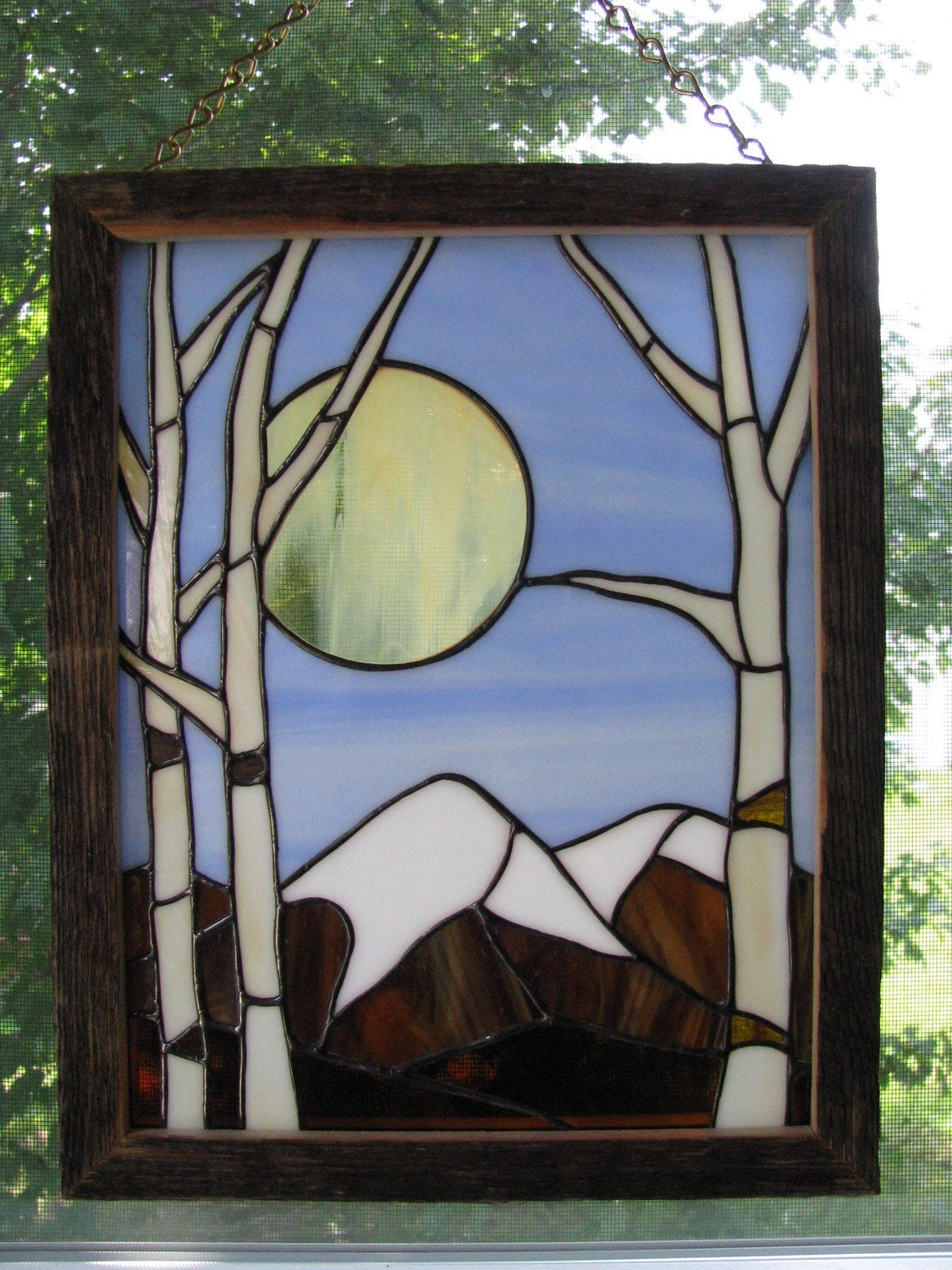 White Birch Stained Glass Panel