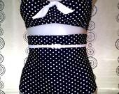 Really High Waist Bikini in Dark Navy Dot & Snow with Tummy Control