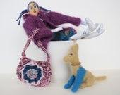 Doll clothes, human figure doll, handmade felt puppy, bag and flower.