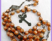 Old French Child's Rosary Chapelet with unusual Orange Iridescent Glass Beads