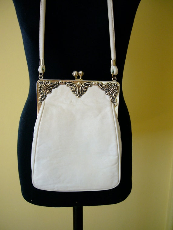 70s bag white leather bag with silver toned frame