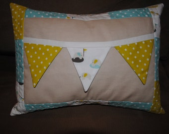 """Baby Boy Elephant Bunting Pillow Cover (12""""x16"""")"""