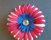 Red White & Blue Daisy Flower Patriotic Hair Clip