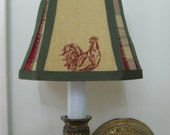 French Country Chandelier Lamp Shade in Mustard Yellow Rooster Fabric Trimmed In a coordinating  Plaid and Green Trim