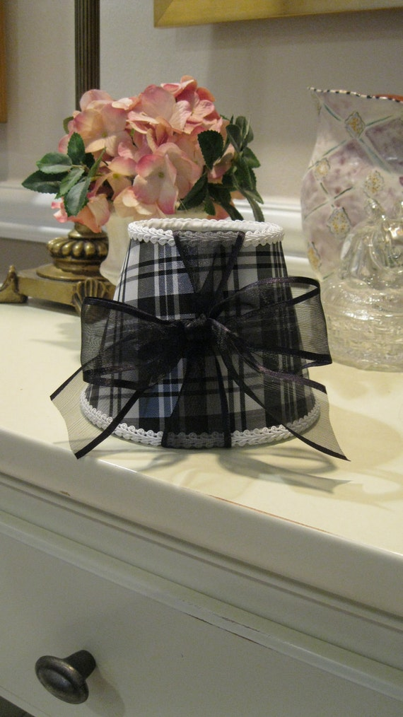Chandelier Lamp Shade with Black and White Plaid Fabric and Black Bow