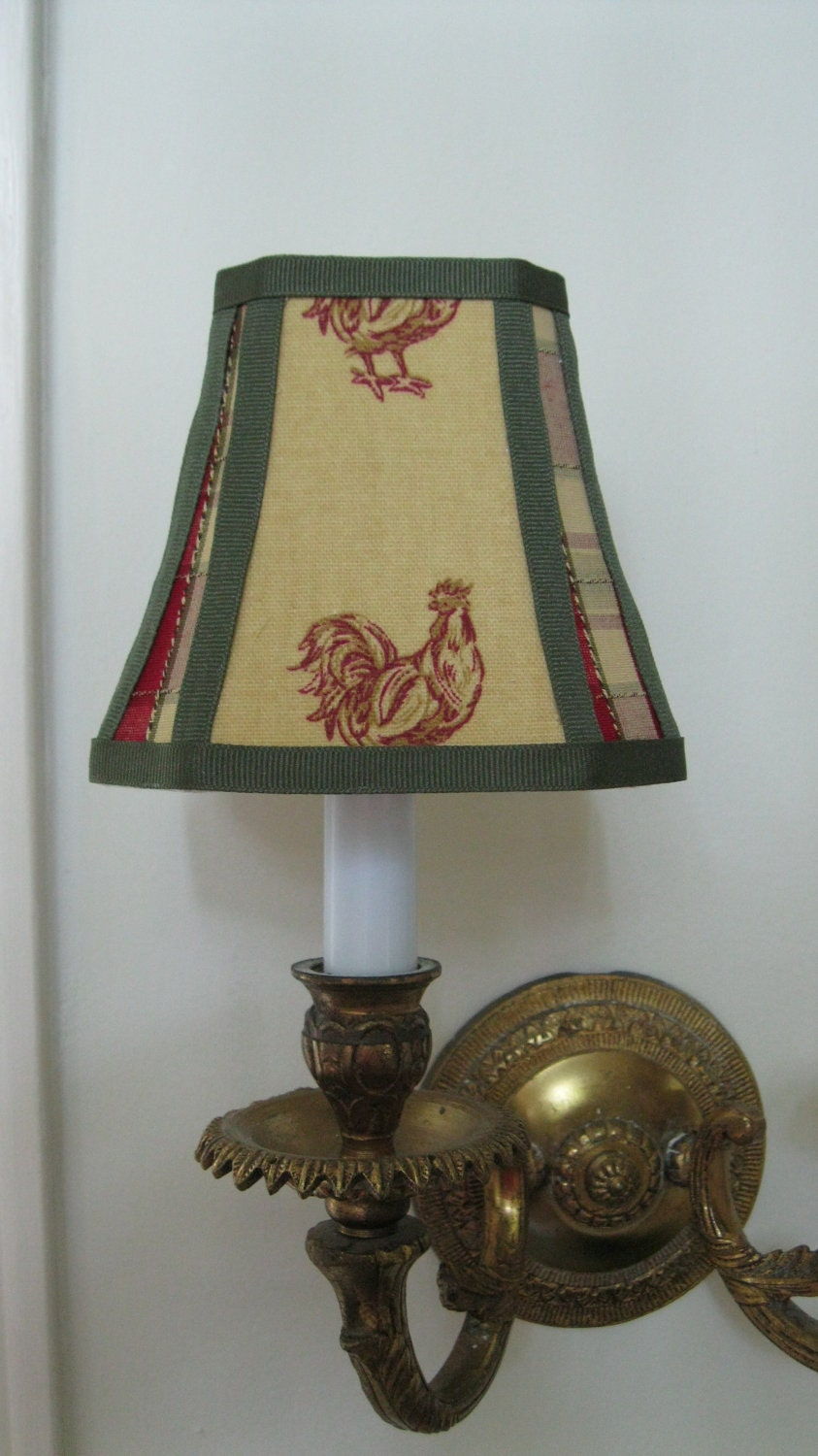 french country chandelier lamp shade in mustard yellow rooster