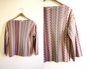 Vintage Missoni Inspired Zig Zag Striped Shirt 70s Knit Sweater