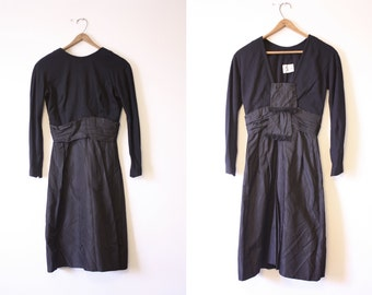 Holiday Dress / 60s Cocktail Party Dress / Black Wool and Taffeta Dress