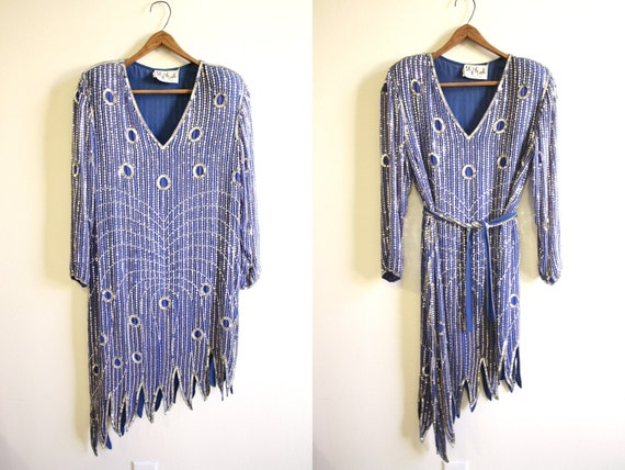 Flapper Dress /  80s Does 20s Party Dress Beaded Sequined