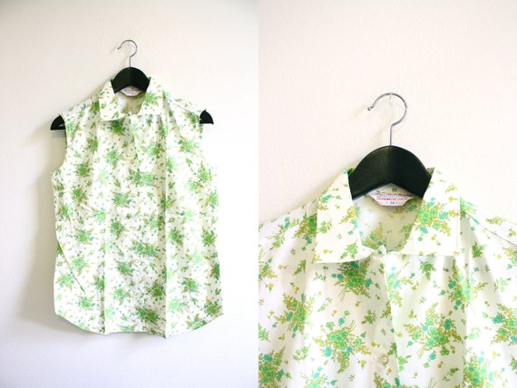 60s Floral Blouse Collared Top Sleeveless