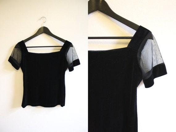 Black Velvet Blouse w/ Sheer Short Sleeve