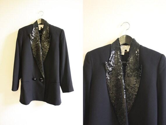 Sequin Tuxedo Jacket / Long Jacket