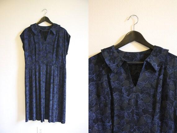 40s Rayon Dress / Leaf Print Dress