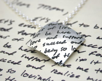 Letter or Handwriting on Personalized Diamond Shaped Pendant
