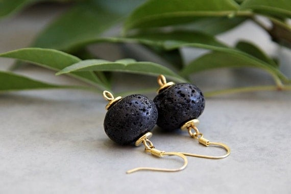Black and Gold - Lava Rock Earrings