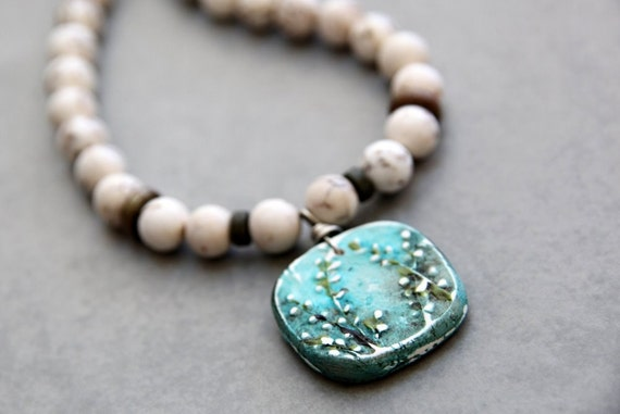 Secret Garden - Magnesite Necklace with Teal Blue HumbleBeads Pendant Feature
