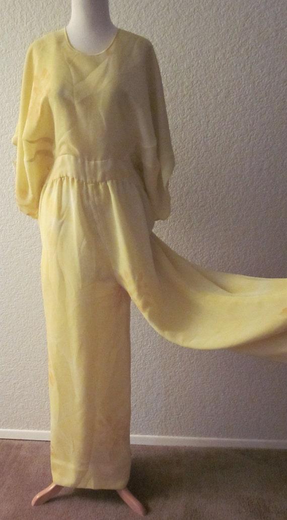 Vintage-70s-Elizabeth Arden Richilene-New York-Yellow Silk Chiffon-Long Split Pants-Large
