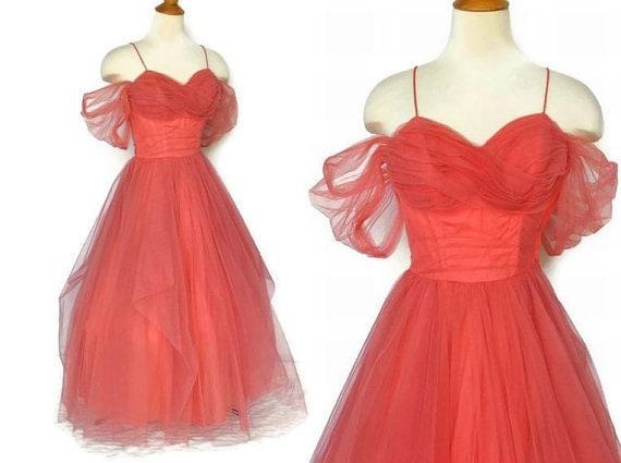 Vintage-1950s-Princess-Cinderella-Cupcake-Party Dress-Gown-S