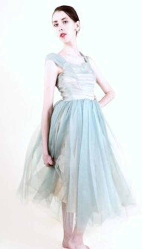 Vintage-50s-Blue-Formal-Tea Length-Tulle-Junior Size-XS