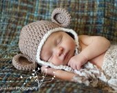 Light Brown Crochet Monkey Hat With Cream Trim - Choose Your Size