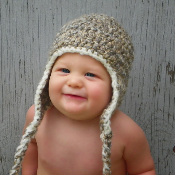 Tosted Marshmallow Fluffy Crochet Earflap Hat - Choose Your Size