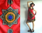 Peruvian Princess 70s Ethnic Bohemian Sundress for Those with Blue Blood in Red, Indigo, Orange and Black size S/M/L