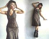 RESERVED MAGiCiAN ASSISTANT Vintage Naked Effect Mesh Long Dress Bodycon Bombshell with Beige Sewn Slip and Rich Black Embroidery XS