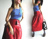 ON HOLD CaNdY AppLe Leather Vtg Maxi Skirt In Sumptuous Soft Red Leather for Truly Bohemian Babes S/M
