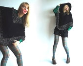 WHAT Are You CAPEable OF Vintage Chunky Knit Cape Poncho In Black with Off-White and Dark Brown Accents S/M