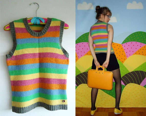 STRIPES ATTACK Tommy Hilfiger Wooly Vintage Colourful Rainbow Knit Top Tank Vest S/M