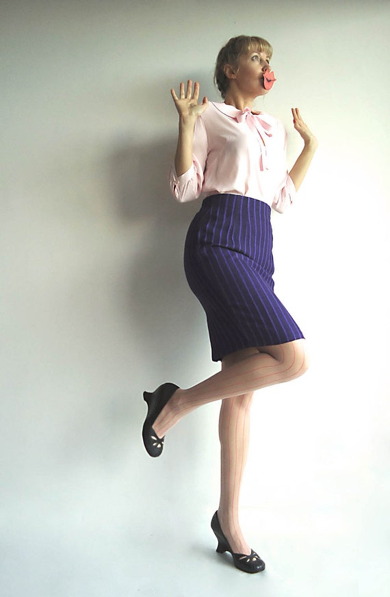 MAKiNG MADMEN MAD Vintage Purple Pencil Skirt with Stripes That Works On Any Man, Mad or Not Size S/M
