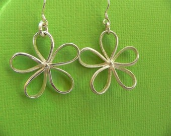 Earrings - Sterling silver -Flower earrings - Valentine gift- Handmade- Ready to ship