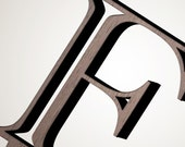 Custom Wood Prep School Serif Initial Cake Topper