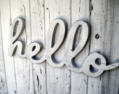 22 inch wooden hello wall sign