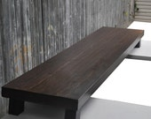 Price reduced for quick sale..last one of this style being made..Solid oak  media table with A wenge finish entertainment  low bench table