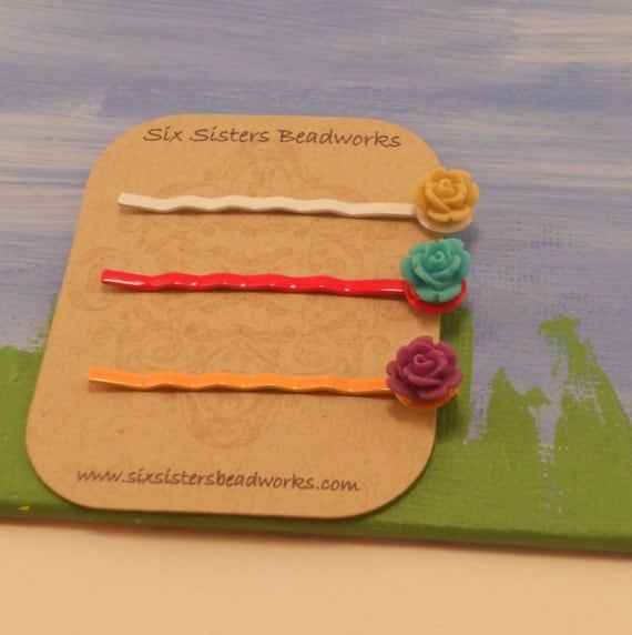 Bright Flower Bobby Pins, Rose Hair Pin, purple, yellow, turquoise, bright colored, colors, little girl hair accessories