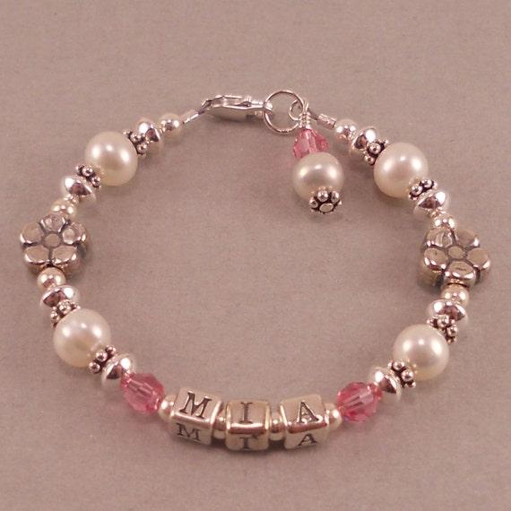 Name Bracelet White Pearls Birthstone Personalized Custom