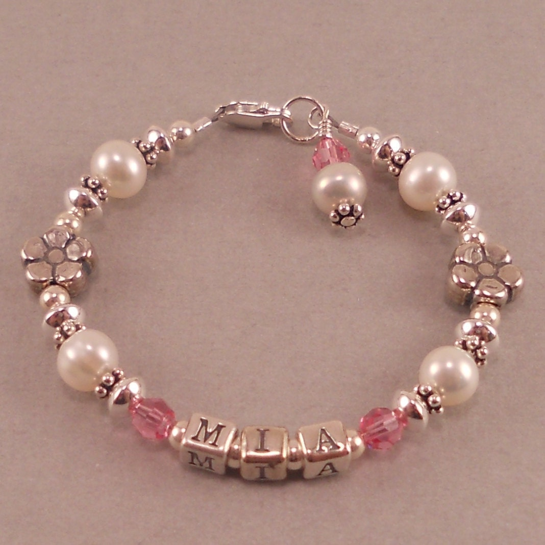 name bracelet white pearls birthstone personalized custom. Black Bedroom Furniture Sets. Home Design Ideas