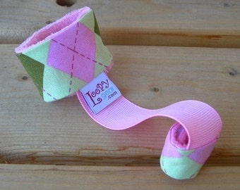 Baby Rattle Holder Pink and Green Argyle Loopy