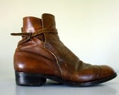 Perfectly DISTRESSED MENS 60s/70s BOOTS with ACCENT STRAPS and BUCKLE