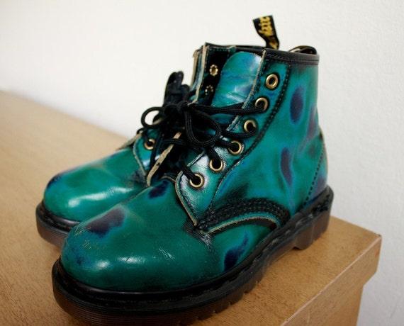 VTG 90s Doc DR MARTENS Teal green and blue GRUNGE ANKLE  BOOTS  UK3 US mens 4 US women 5.5-6