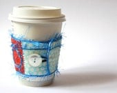 Reserved for Contest Winner - Coffee Cup Cozy  - Red and Robin's Egg Blue