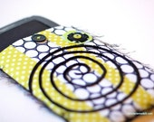 Kindle, Kindle Fire or Nook Cover - Yellow, Black and White Polka dots