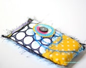 iPhone Cover - Cellphone case - Yellow, Black, and White, Teal Polka Dots